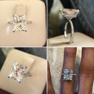2.50Ct Radiant Cut VVS1 Moissanite Solitaire Engagement Ring 14k White Gold