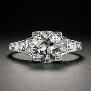 Art Deco 2.30 Carat Forever Brilliant Moissanite Engagement Ring 14k White Gold Over