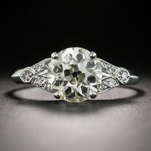 Art Deco 2.16 Ctw Round Near White Moissanite Vintage Engagement Ring 925 Silver