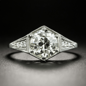 2.21 Ctw Near White Round Moissanite Art Deco Engagement Ring 925 Sterling Silver
