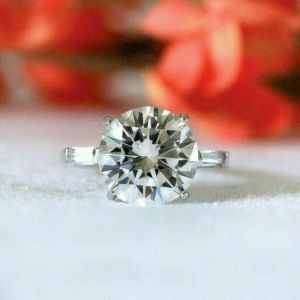 3.16 Ctw Round Cut Moissanite Side Baguette Solid 14k White Gold In Fancy Engagement Ring