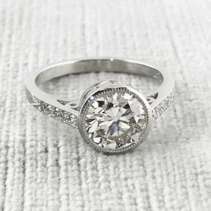 2.00Ct Round Cut Bezel-Set Moissanite With Accents Engagement Ring 14k Gold Plated