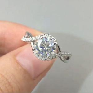 1.92 Ctw Near White Brilliant Cut Moissanite Engagement Ring 14k White Gold
