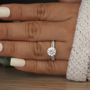 2.26 Ctw Round Cut Moissanite Classic Bridal Set Engagement Ring Real 14k White Gold