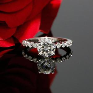 1.46Ctw Round Cut Brilliant Moissanite Floating Engagement Ring Solid 14k White Gold