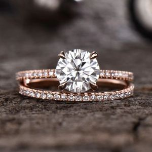 1.50 Ct Round Moissanite Solitaire Engagement Ring Wedding Set Solid 14k Rose Gold