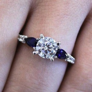 1.45 Carat Round Moissanite & Side Blue Sapphire Engagement Ring Real 925 Sterling Silver