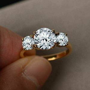 2.56 Ctw Three Stone Brilliant Moissanite Wedding Engagement Ring 14k Yellow Gold
