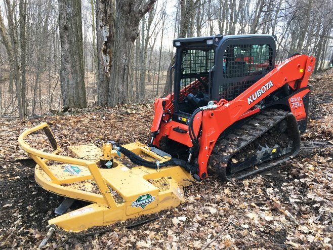 Kubota with Skid Mower Attachment