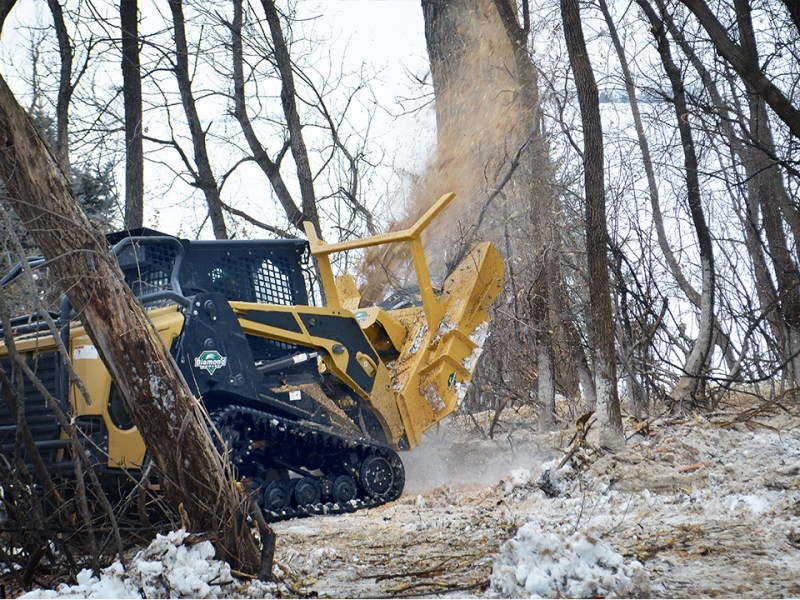 Skid-Steer Forestry Disc Mulcher Action