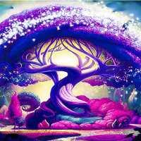 Purple Tree Diamond Painting Kit