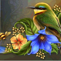 Bird and Flower Diamond Painting Kit