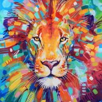 Lion Paint Strokes Diamond Painting Kit