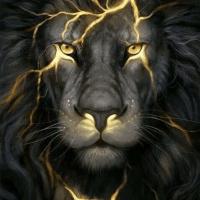 Black Lightning Lion Diamond Painting Kit