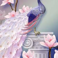 Pink Peacock Pedestal Diamond Painting Kit