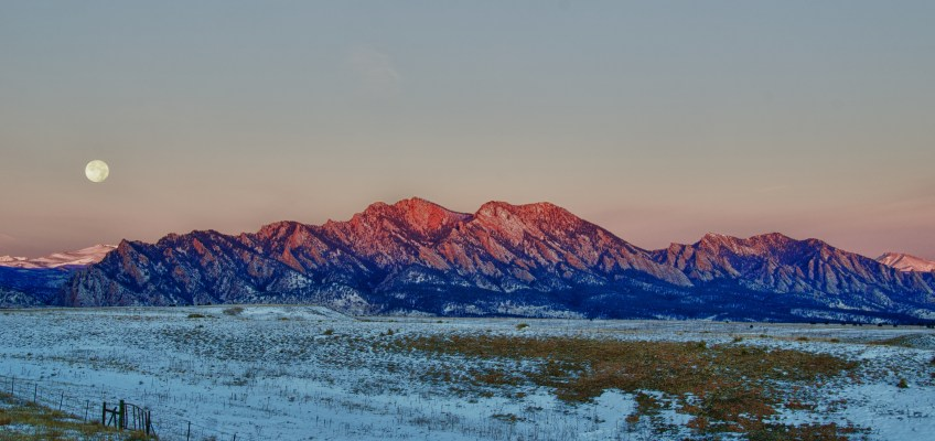 Full Moon and Sunrise over the Flatirons