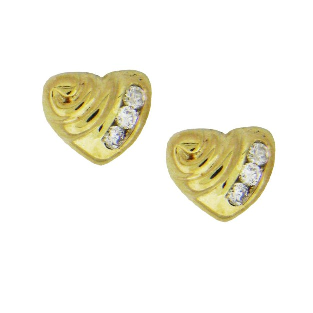 Yellow Gold Heart with Diamonds Custom Earrings
