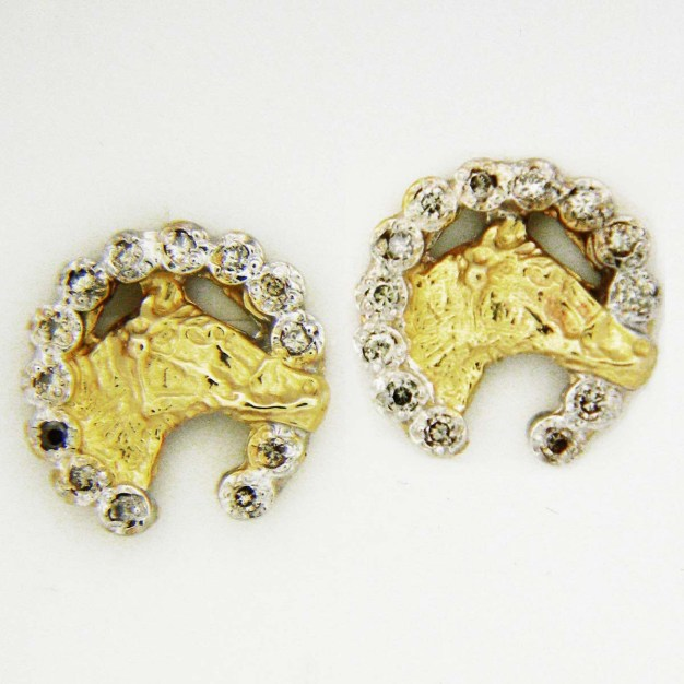 Yellow Gold Horse with Diamond Horseshoe Custom Earrings