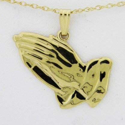Yellow Gold Praying Hands Custom Pendant (smooth)