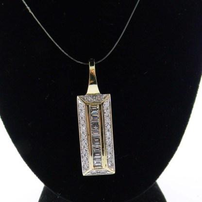 Yellow Gold Rectangle Diamond Custom Pendant