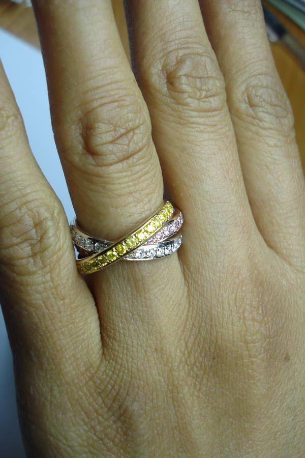 Diamond Wedding Band Tri Color Wedding Band 14K Gold
