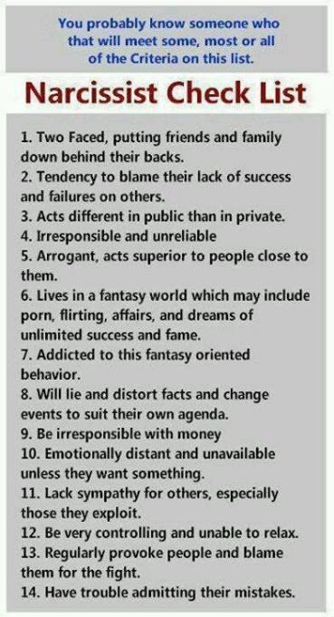 narcissist-checklist