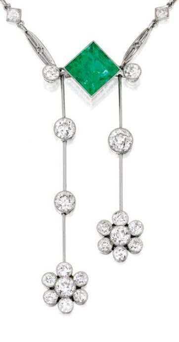 Detail; a platinum, emerald and diamond lavallière, circa 1930. Via Diamonds in the Library.