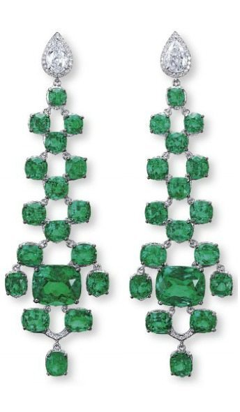 Unique emerald and diamond earrings. Via Diamonds in the Library.