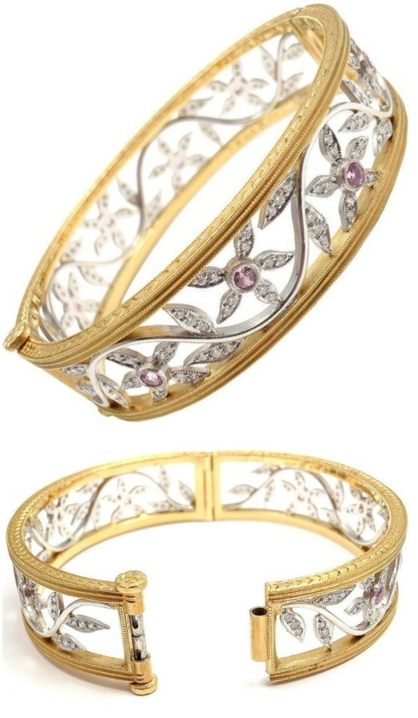 A beautiful Cathy Waterman 22k gold, platinum, diamond, and pink sapphire bangle. Via Diamonds in the library.