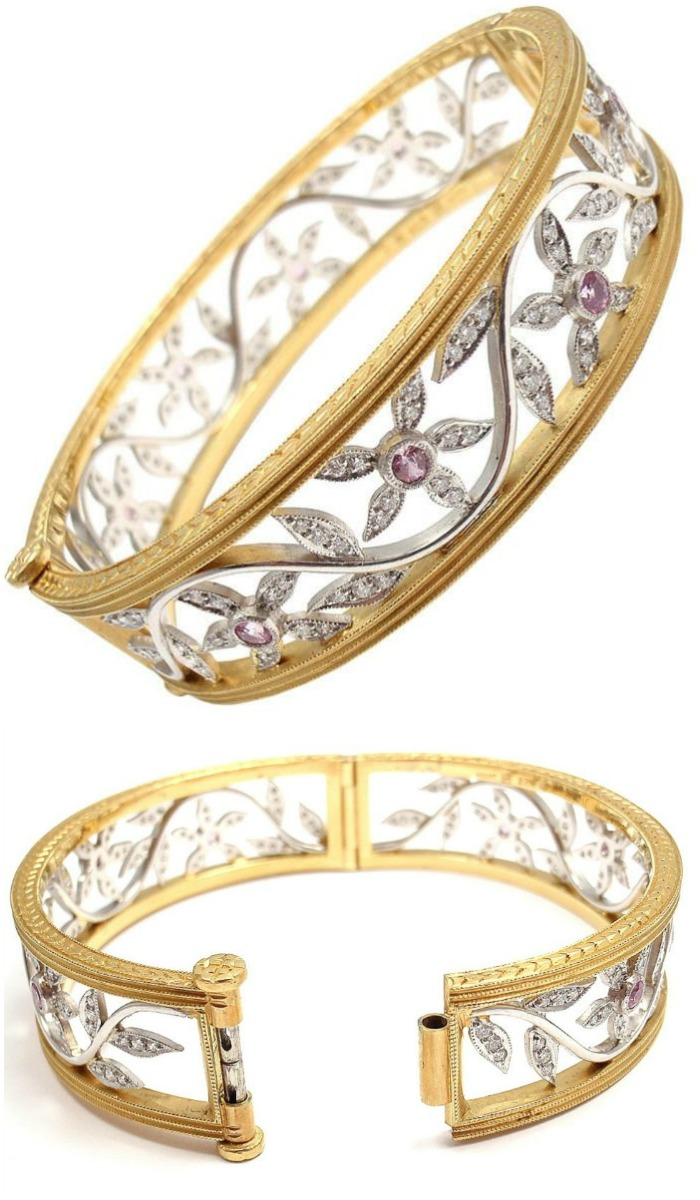 Cathy Waterman diamond and pink sapphire bangle
