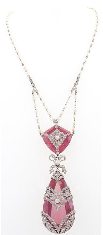 A beautiful antique French Belle Epoque necklace with seed pearls, diamonds, and pink topaz.