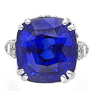 Alternate view; ornate sapphire and diamond ring, by Chantecler. Via Diamonds in the Library.