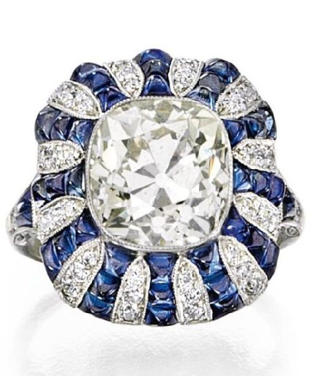 Art Deco diamond and sapphire ring, circa 1920. Via Diamonds in the Library.