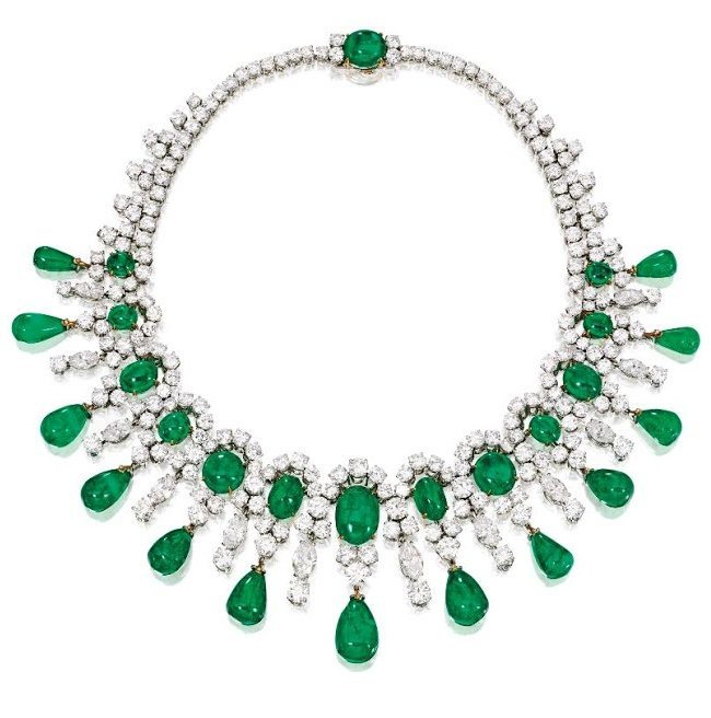 Brooke Astor's Bulgari emerald and diamond necklace, circa 1959. Via Diamonds in the Library.