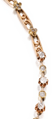Chain detail; Gold, diamond and pearl necklace, circa 1900. Via Diamonds in the Library.