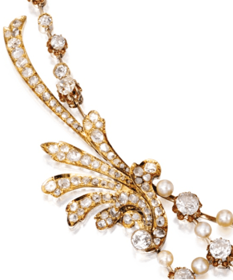 Detail; Gold, diamond and pearl necklace, circa 1900. Via Diamonds in the Library.