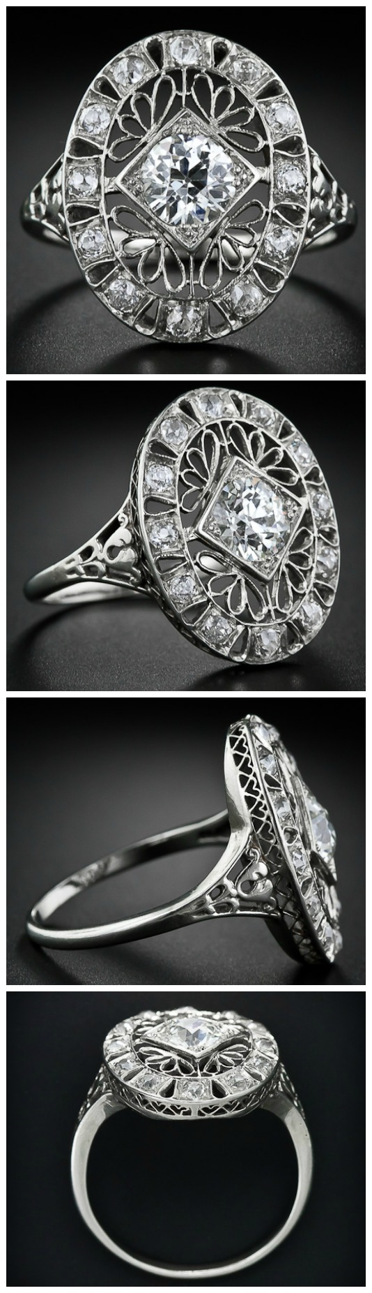 Edwardian diamond dinner ring at Lang Antiques. Via Diamonds in the Library.