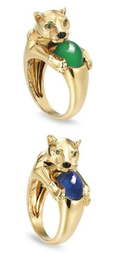 Two diamond and gem-set panther rings by Cartier. One with a cabochon sapphire, the other with a cabochon chalcedony. Via Diamonds in the Library.