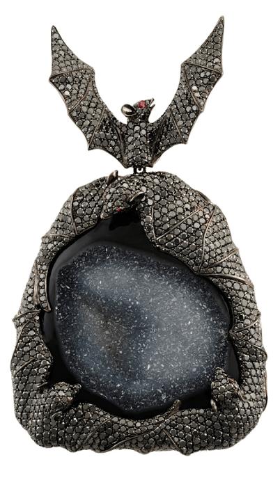 A magnificent Lydia Courteille bat pendant, with black diamonds and black druzy.