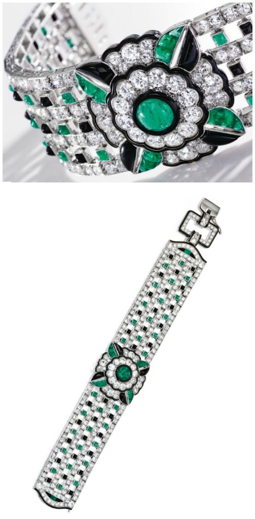 A remarkable Art Deco diamond, emerald, onyx, and enamel bracelet by Mauboussin, circa 1925. Via Diamonds in the Library.