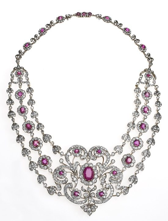 A spectacular Victorian diamond and ruby bib necklace, circa 1880.