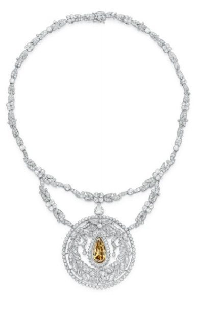 An antique Belle Epoque colored diamond necklace, circa 1910.