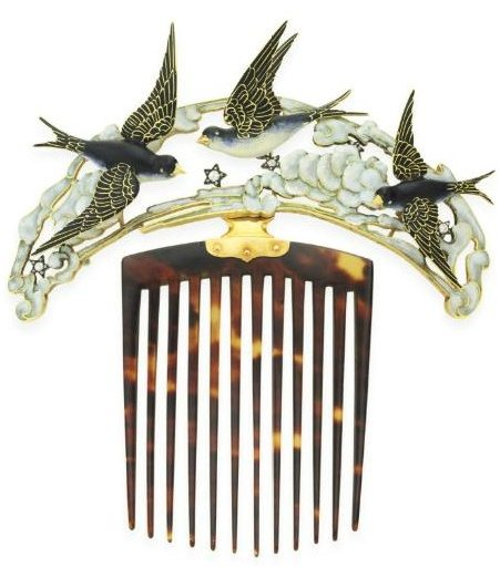 Art Nouveau enamel, tortoiseshell, and diamond bluebird hair comb by Lucien Gaillard. Via Diamonds in the Library.