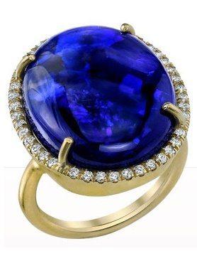 Irene Neuwirth Black Opal & Diamond Ring. Via Diamonds in the Library.