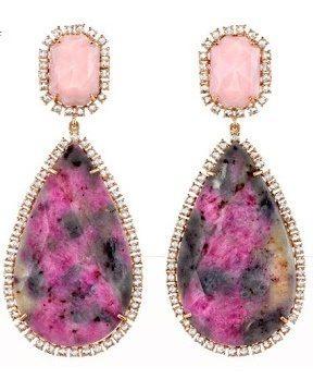 Irene Neuwirth Multicolor Sapphire, Pink Opal & Diamond Drop Earrings