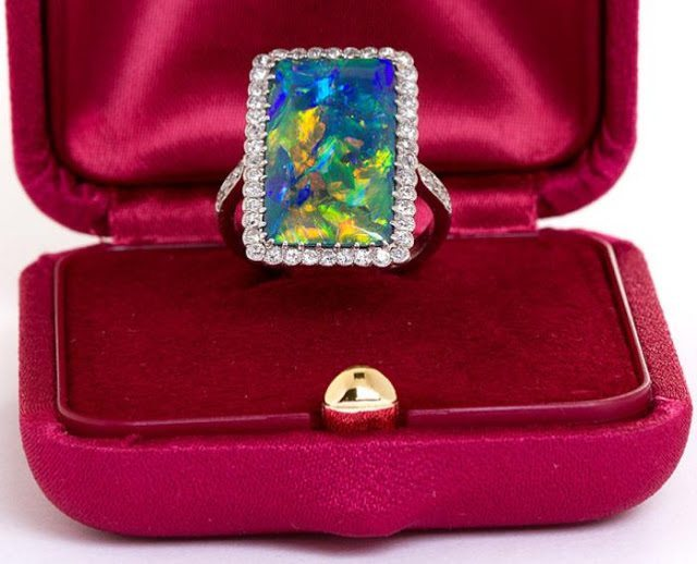 'Rarest' Art Deco opal and diamond ring.