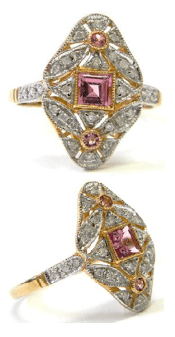 A lovely pink tourmaline and diamond ring, listed on eBay by Dover Jewelry. Via Diamonds in the Library.
