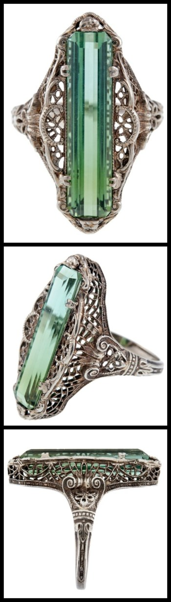Multi view: Antique green tourmaline filigree ring. Via Diamonds in the Library.