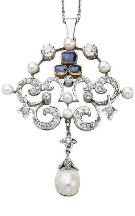 An Edwardian sapphire, diamond, and pearl pendant.