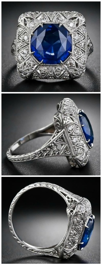 An antique early Art Deco sapphire and diamond filigree ring.